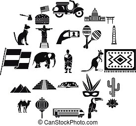 Central America icons set, simple style - Central America...