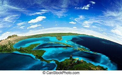 Central America landscape from space. Elements of this image furnished by NASA