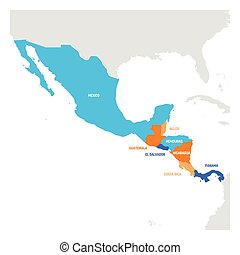 Central America Region. Map of countries in central part of...