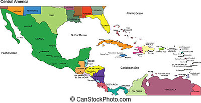 Central America Regional Map, with individual Countries and Names. Includes bottom of USA, Mexico to Panama. Countries are individual objects that can be colored and changed so you can build a regional territory map or develop an illustration. Great for building sales and marketing territory maps, ...