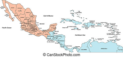Central America Regional Map, with individual Countries and Names. Includes Mexico to Panama. Countries are individual objects that can be colored and changed so you can build a regional territory map or develop an illustration. Great for building sales and marketing territory maps, illustrations, ...