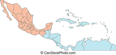 Central America Regional Map, with individual Countries and Names. Countries are individual objects that can be colored and changed so you can build a regional territory map or develop an illustration. Great for building sales and marketing territory maps, illustrations, web graphics and graphic ...