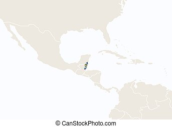 Central america with highlighted belize map. vector illustration.