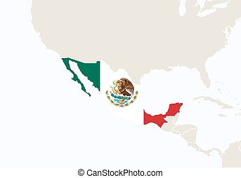 Central America with highlighted Mexico map.