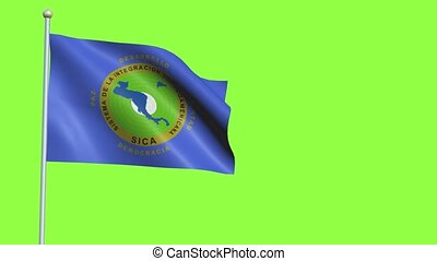 Central American integration system Flag in 3D render with green screen background in Slow Motion