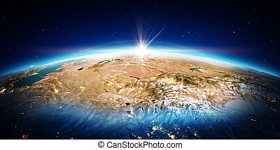 Central Asia. 3D rendering