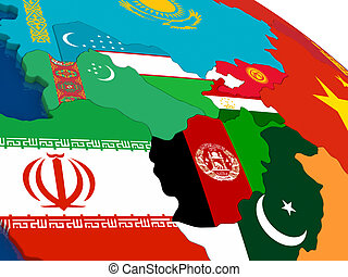 Central Asia on 3D map with flags