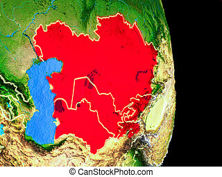 Central Asia on globe from space