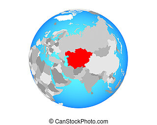 Central Asia on globe isolated