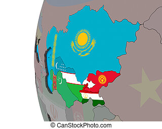 Central Asia with flags on 3D globe