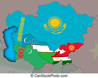 Central Asia with flags on 3D map