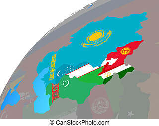 Central Asia with flags on globe