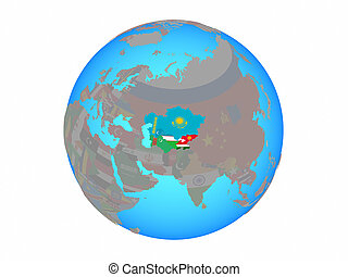 Central Asia with flags on globe isolated