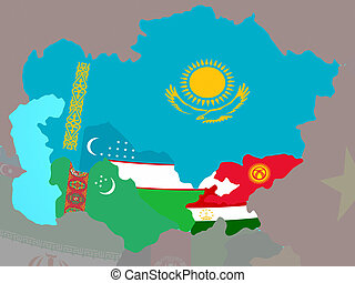 Central Asia with flags on map