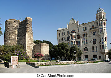 central baku azerbaijan with maidens tower landmark