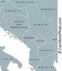 Central Balkan political map with borders. Southeastern...