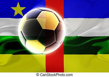 central, bandera, ondulado, república, africano, futbol