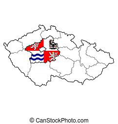 central bohemian region on administration map of Czech Republic