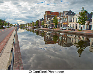 Central canal in the city of Assen Netherlands