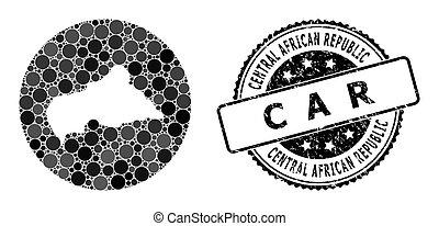 central, cercle, africaine, caoutchouc, stencil, carte, mosaïque, cachet, république