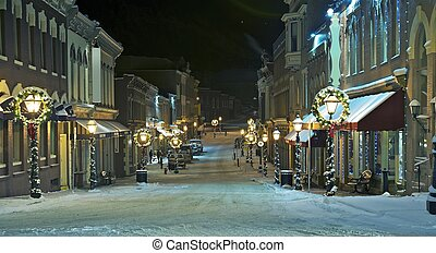 Central City Main Street, Colorado, United States. Central City in Cold Winter Night.