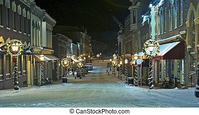 central, ciudad, calle principal