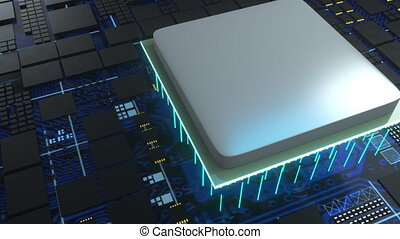 The technological backdrop. Central Computer Processors, computer generated. 3d rendering of CPU concept.