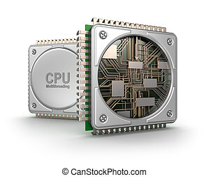 Central computer processors CPU isolated on white background