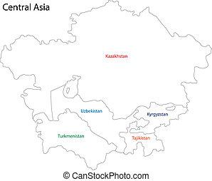 central, contorno, asia