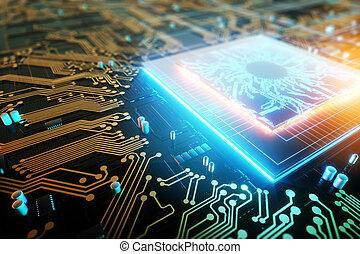 central, copie, space., 3d, unité centrale traitement, arrière-plan., planche, technologique, unit., concept, numérique, processor., traitement, circuit, intégré, informatique, render, puce, communication
