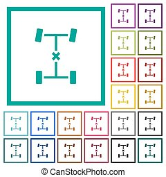 Central differential lock flat color icons with quadrant frames on white background