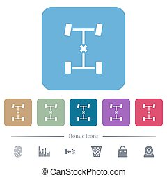 Central differential lock white flat icons on color rounded square backgrounds. 6 bonus icons included