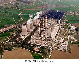 central eléctrica, aéreo