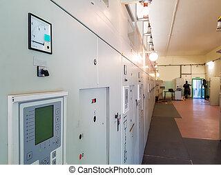 central eléctrica, bahía, control, panel.
