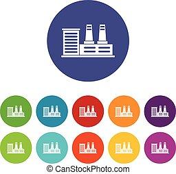 central eléctrica, conjunto, iconos