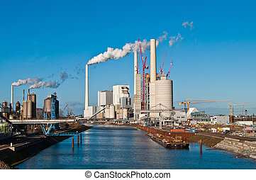 central eléctrica, erección, sitio