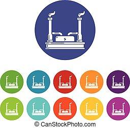 central eléctrica, iconos, conjunto, vector, color