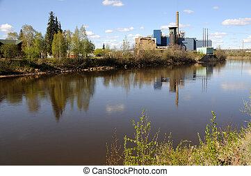central eléctrica, por, un, río, en, verano