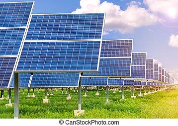 central eléctrica, utilizar, renovable, energía solar