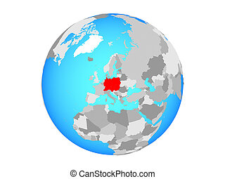 Central Europe on globe isolated