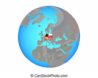 Central Europe with flags on globe isolated
