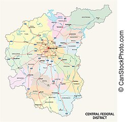 Central Federal District road, administrative and political vector map