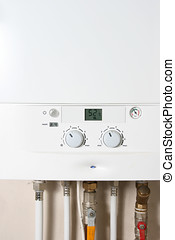 central, gas, calefacción, caldera