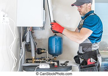 Central Gas Heater Installing by Professional Caucasian Heating Systems Installer.