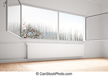 Central heating attached to wall with open windows