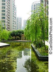 central, jardín, en, un, nuevo, distrito residencial
