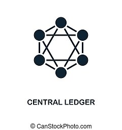Central Ledger icon. Monochrome style design from blockchain icon collection. UI and UX. Pixel perfect central ledger icon. For web design, apps, software, print usage.