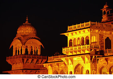 Central museum at night, Jaipur, India - Albert Hall Museum...