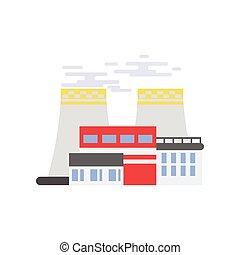central nuclear, edificio industrial, fábrica, vector, ilustración