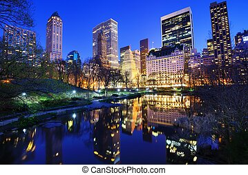 Central Park at Night - Central Park and aparrtment...